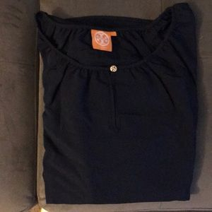Tory Burch navy blue peasant blouse size large.